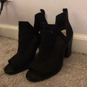 Open toe black booties by Vince camuto